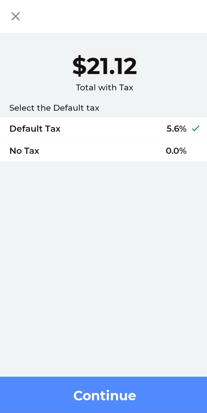 Quick charge tax screen